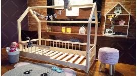 Lit cabane Lisa avec barrière 80 x 140cm