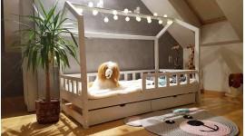 Lit cabane Bella avec barrière avec un tiroir 70 x 160cm
