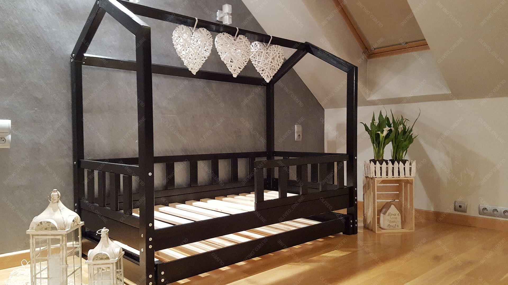 lit cabane bella avec barri re avec deuxi me lit 80 x. Black Bedroom Furniture Sets. Home Design Ideas