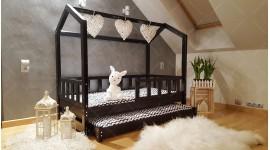 Lit cabane Bella avec barrière avec deuxième lit 140 x 200cm