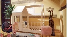 Lit cabane Aster avec barrière