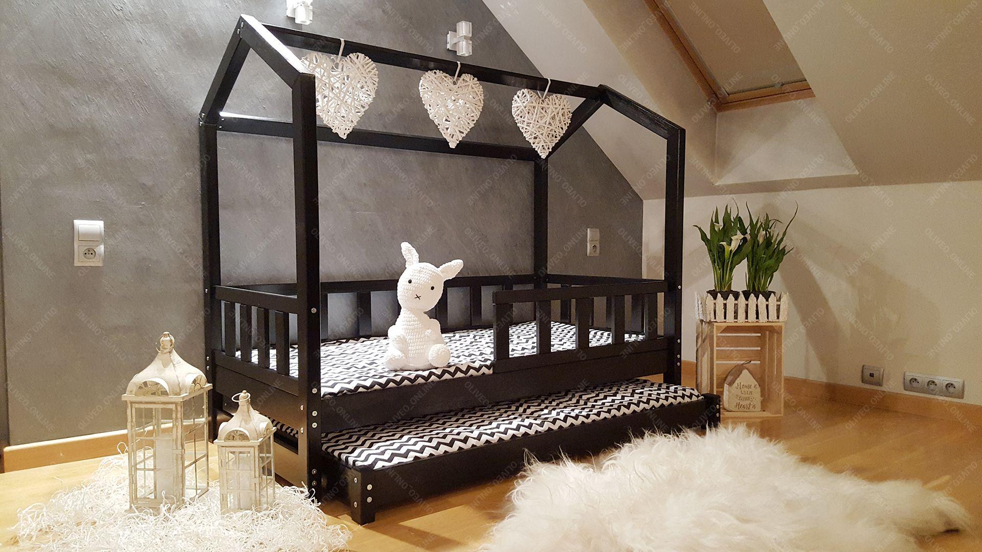 Oliveo Mon lit cabane Barri/ères de s/écurit/é et tiroir 5 Jours Livraison Lit pour Enfants,lit denfant,lit cabane avec barri/ère 120 x 60 cm, Barri/ères de s/écurit/é et tiroir: avec